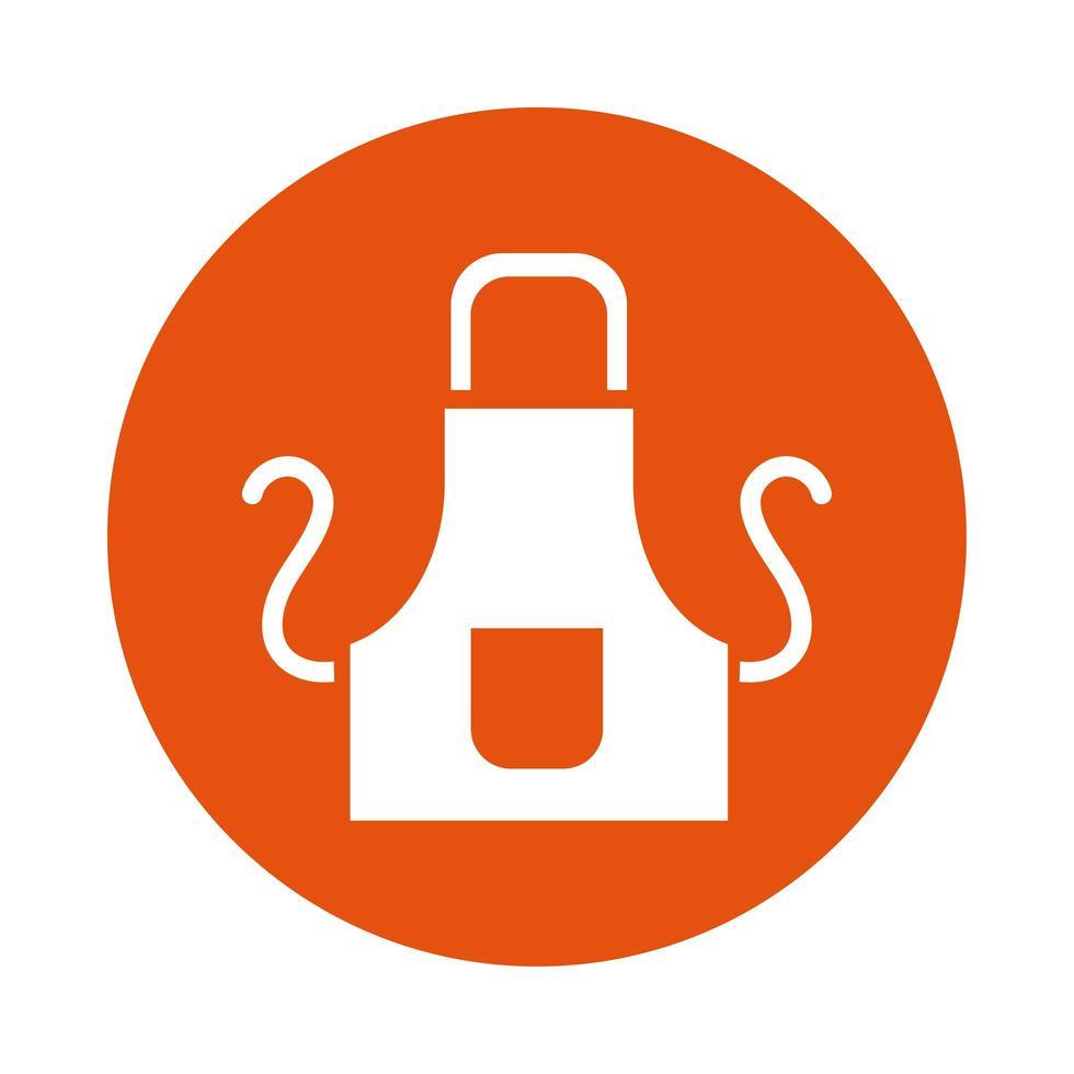 icona di stile blocco grembiule da cucina vettore