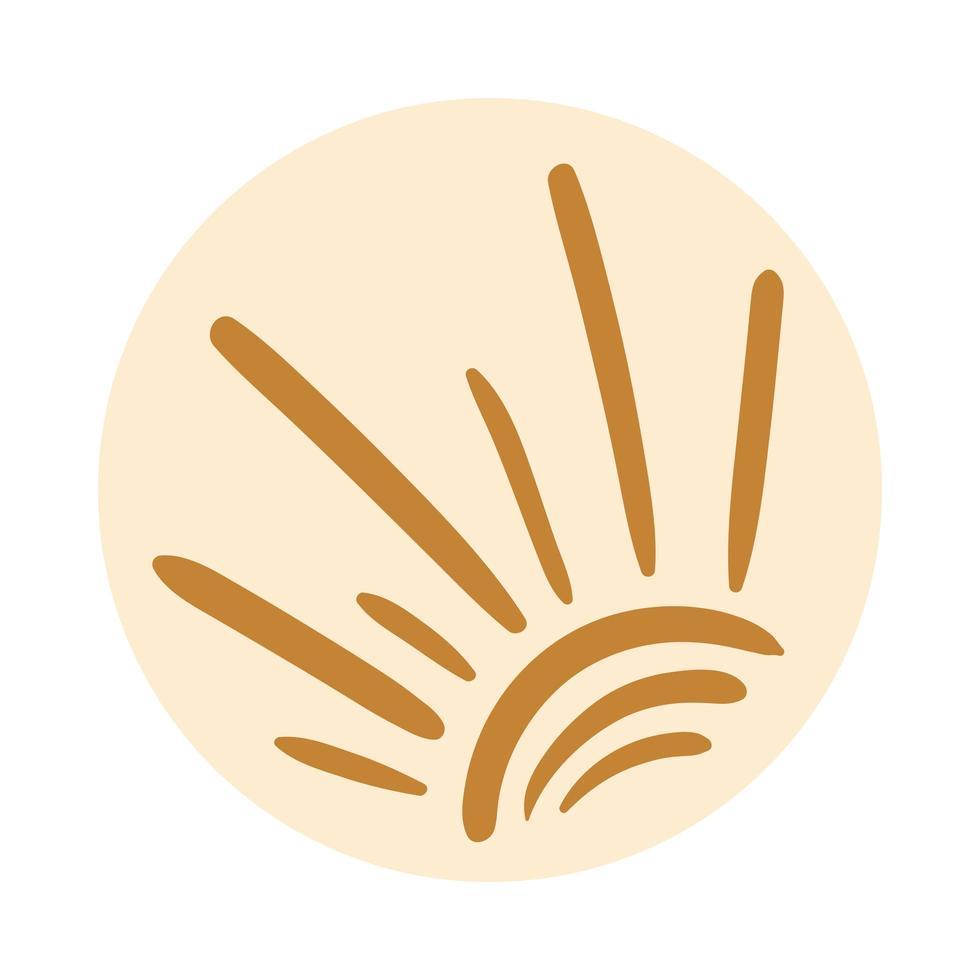 stile di tiraggio della mano di boho del sole vettore