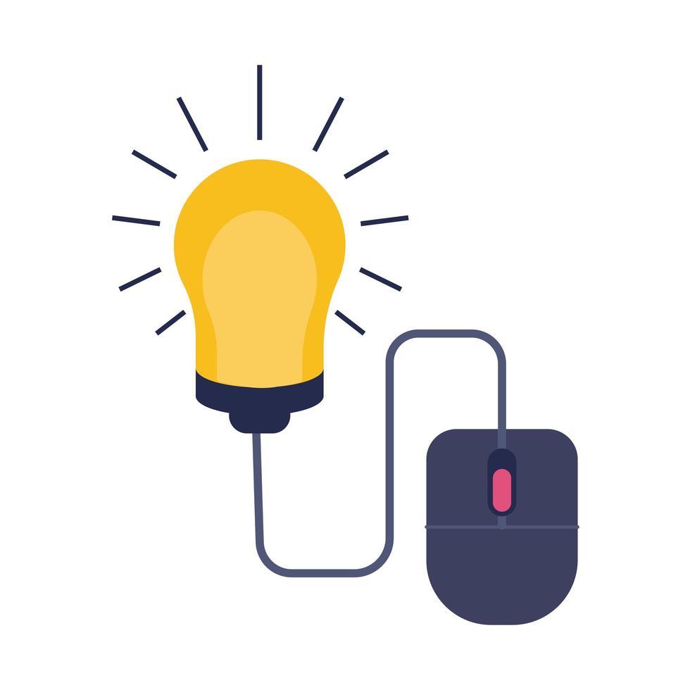 mouse con stile piatto in linea educazione lampadina vettore