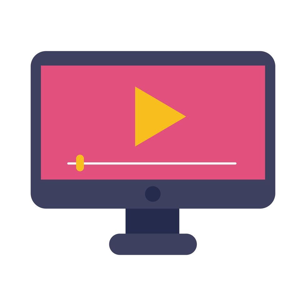desktop con stile piatto di educazione online lettore multimediale vettore