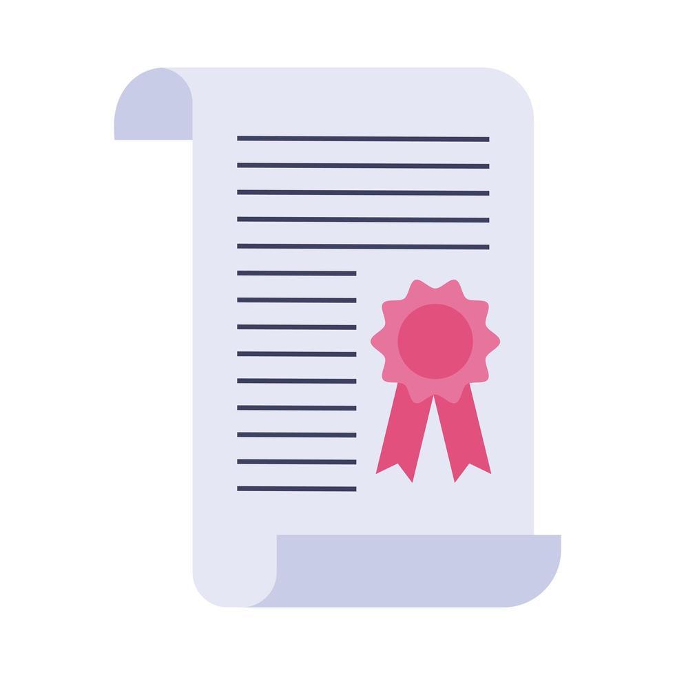 icona di stile piatto certificato di laurea vettore
