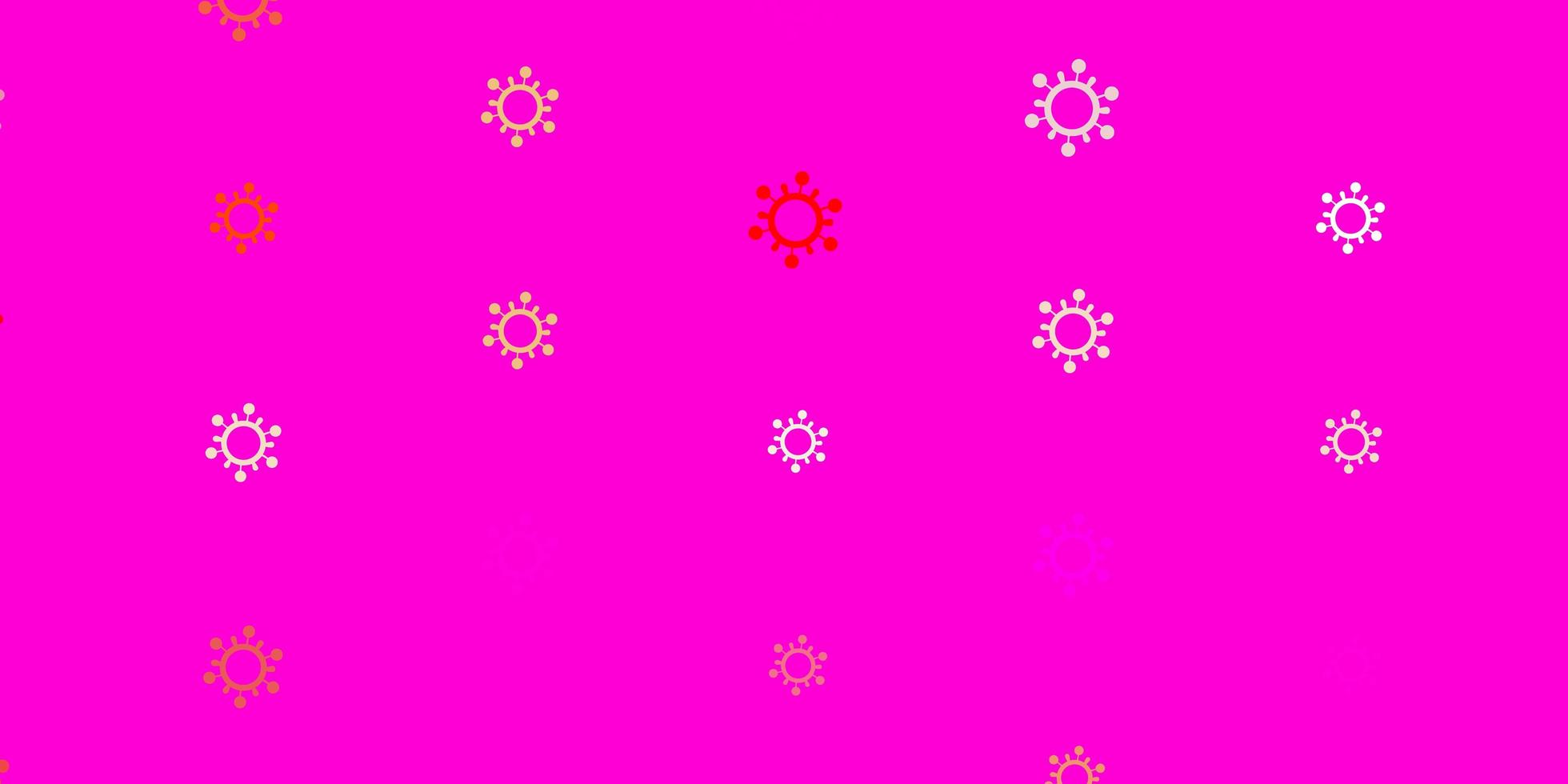 modello vettoriale rosa chiaro, giallo con elementi di coronavirus