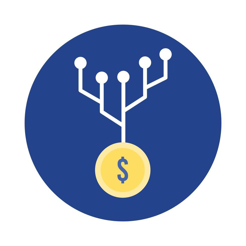 moneta denaro dollaro con blocco del circuito elettrico e icona di stile piatto vettore
