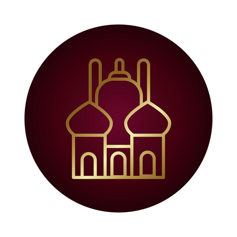 icona di stile gradiente del blocco del tempio di ramadam kareem vettore