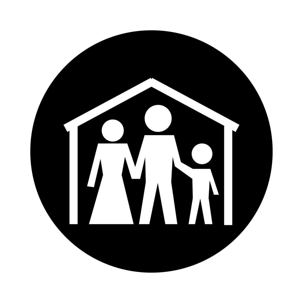 figure familiari rimangono a casa stile blocco pittogramma salute vettore