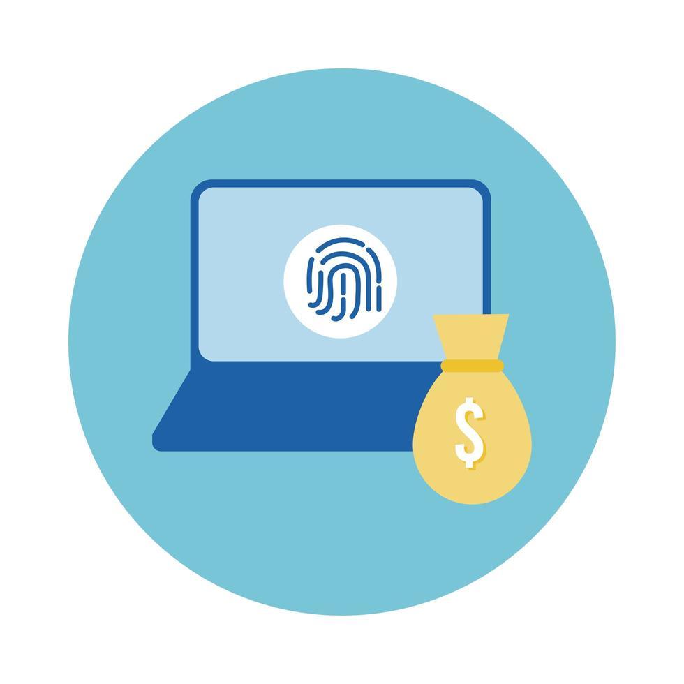 laptop con impronta digitale e stile blocco sacchetto dei soldi vettore