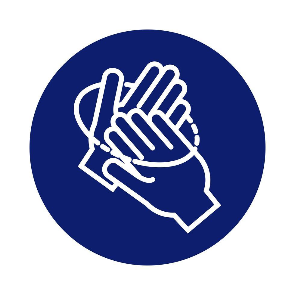 mani che lavano circolarmente icona di stile di blocco vettore
