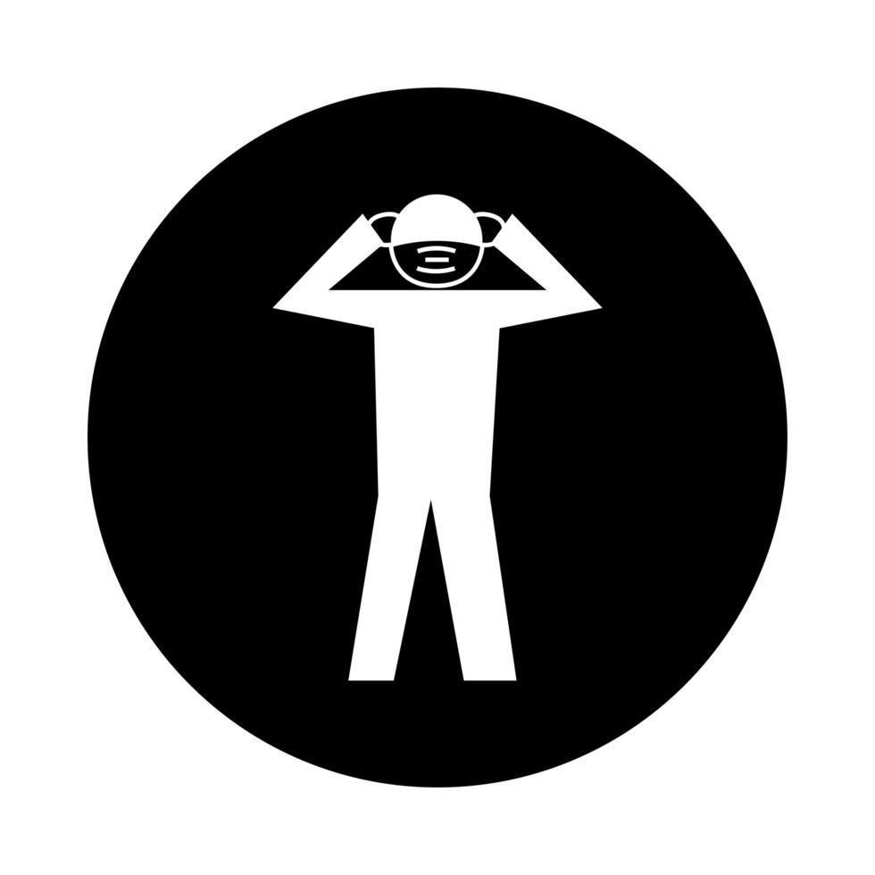 umano che utilizza una maschera facciale con stile di blocco del pittogramma di salute del mal di testa vettore