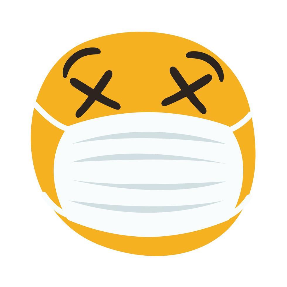 emoji che indossa la maschera medica mano disegnare stile vettore