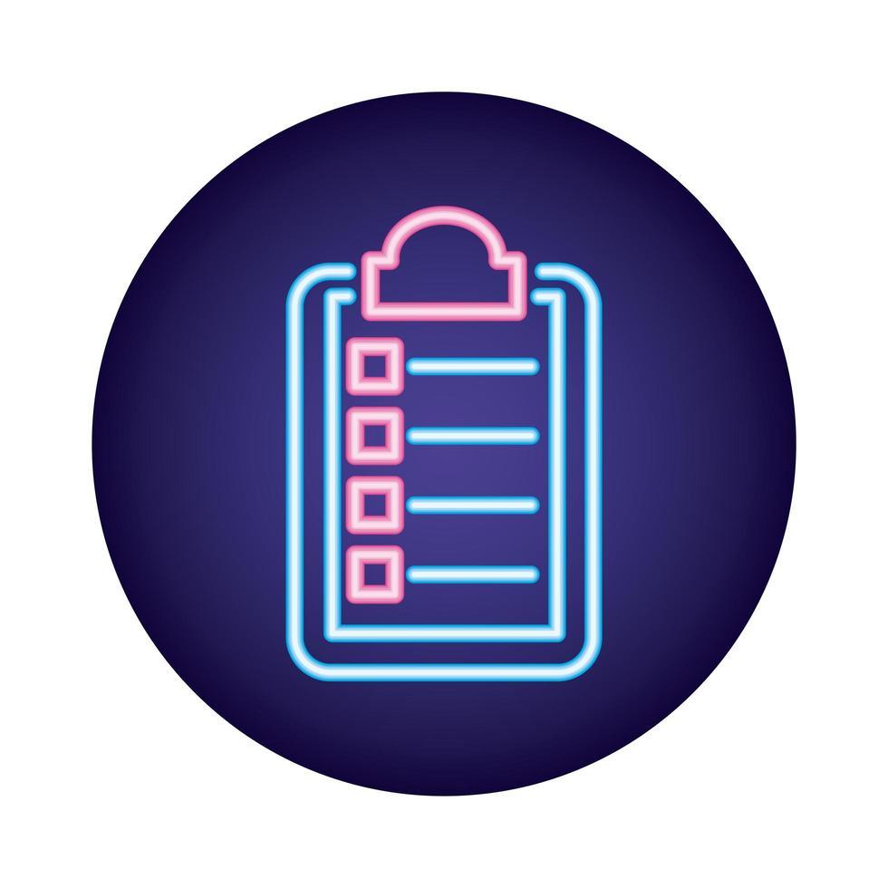 icona di stile neon del documento di ordine medico vettore