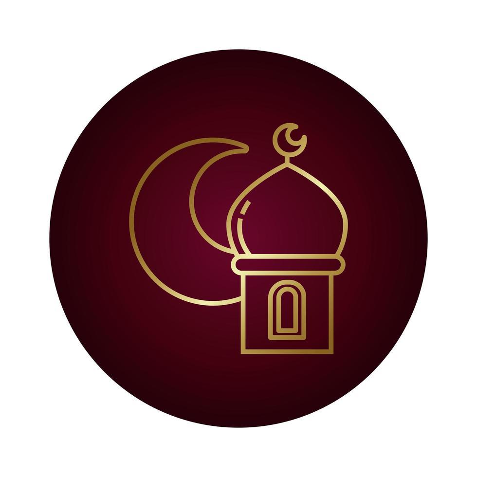 notte di luna con icona di stile sfumato blocco tempio di ramadan vettore