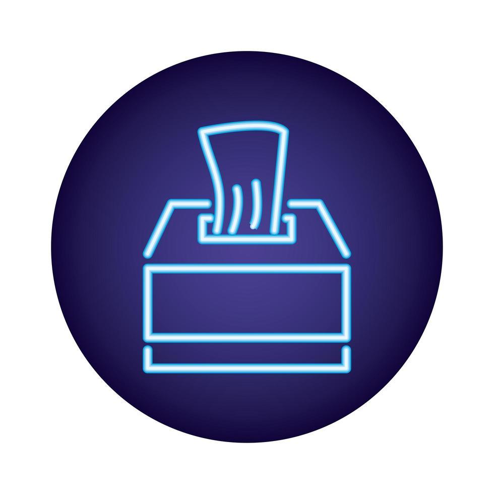 icona di stile neon scatola di panni umidi vettore