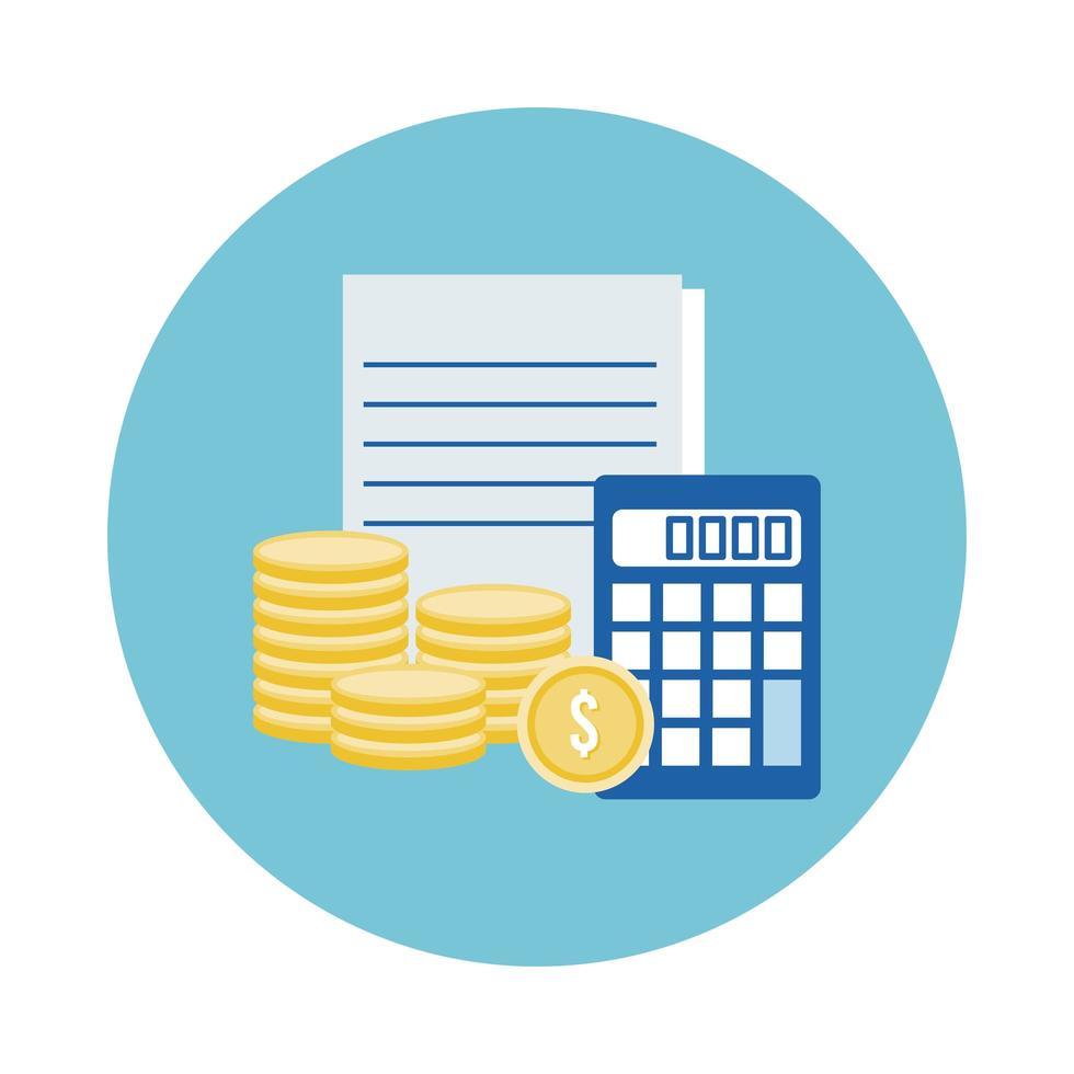 calcolatrice con monete e icona di stile blocco documenti vettore