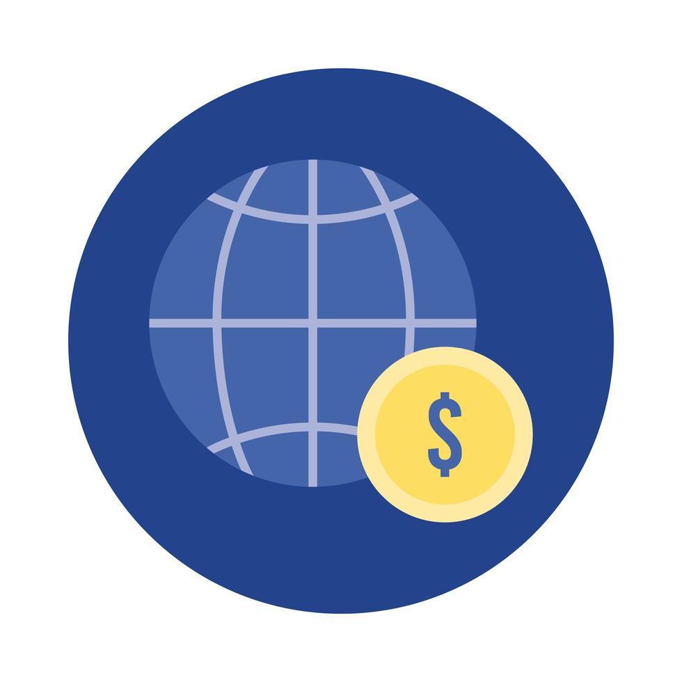 browser sfera con blocco monete e icona di stile piatto vettore