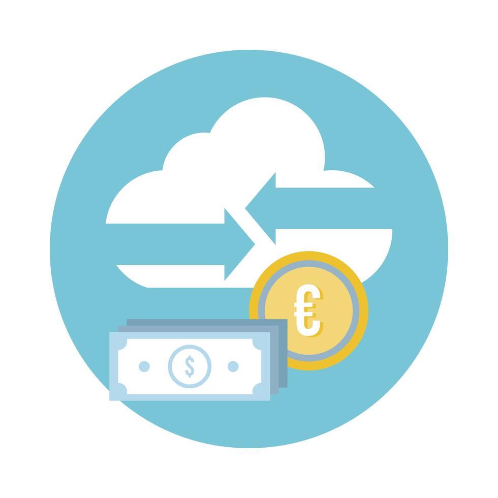 banconote da un dollaro e monete in euro con icona di stile blocco nuvola vettore