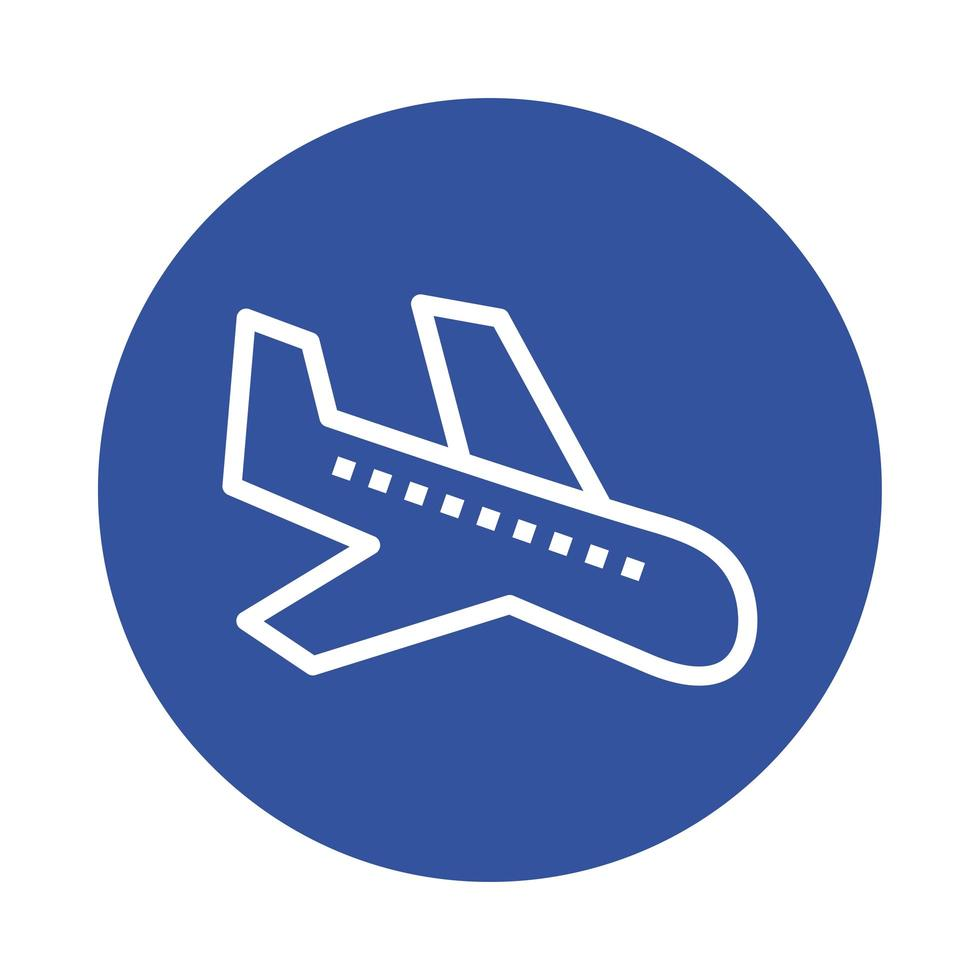 icona di stile blocco arrivo aereo vettore