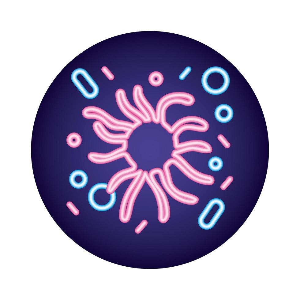stile neon di particelle di virus covid19 vettore