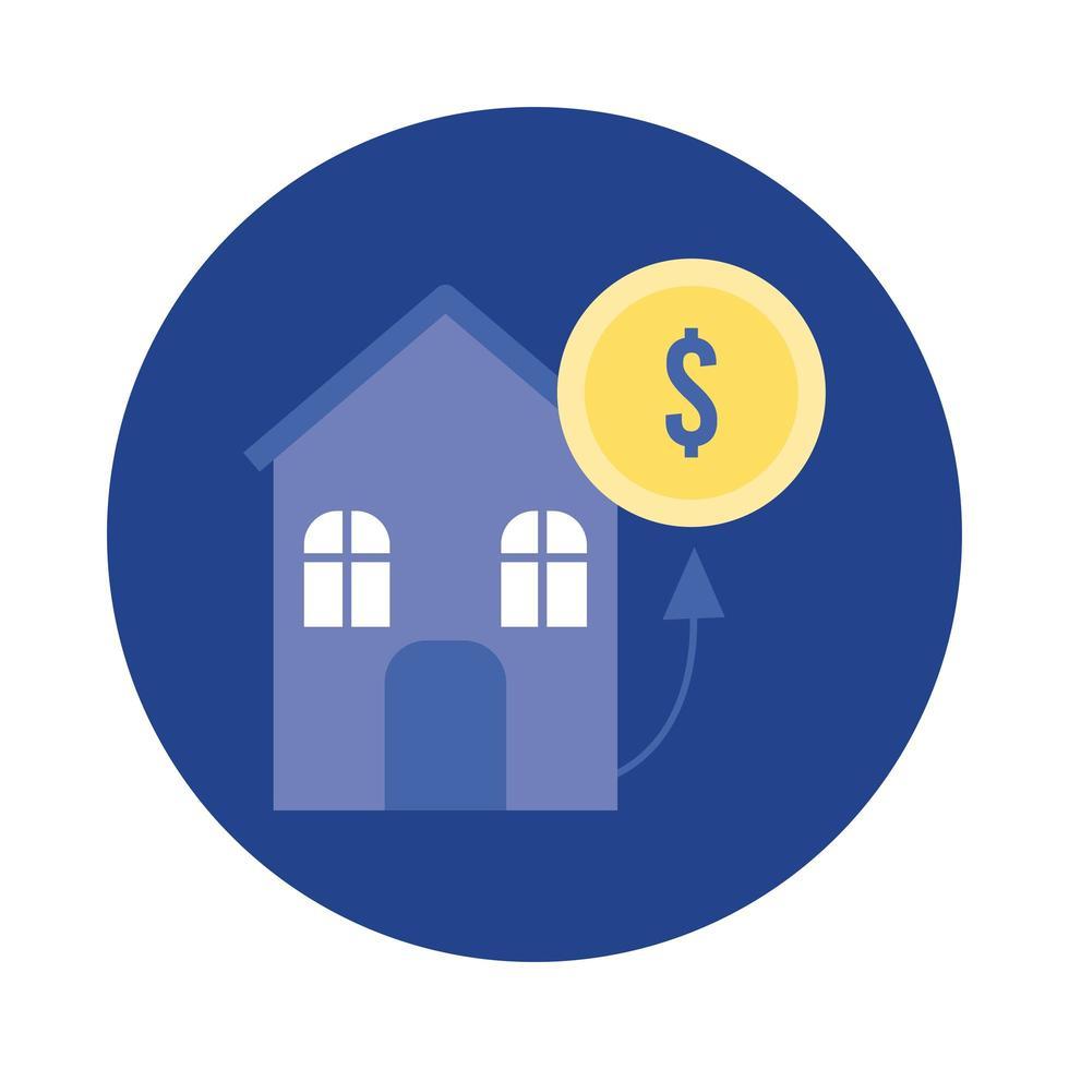 moneta denaro dollaro con blocco di casa e icona di stile piatto vettore