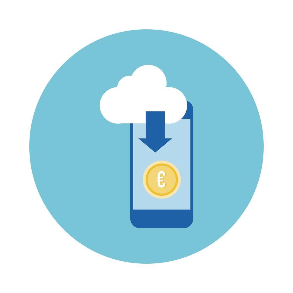 smartphone con euro e stile blocco cloud vettore