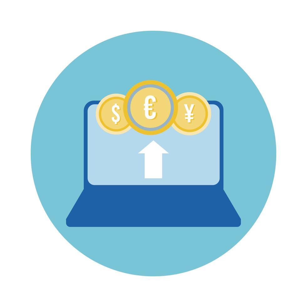 portatile con icona di stile blocco monete internazionali vettore