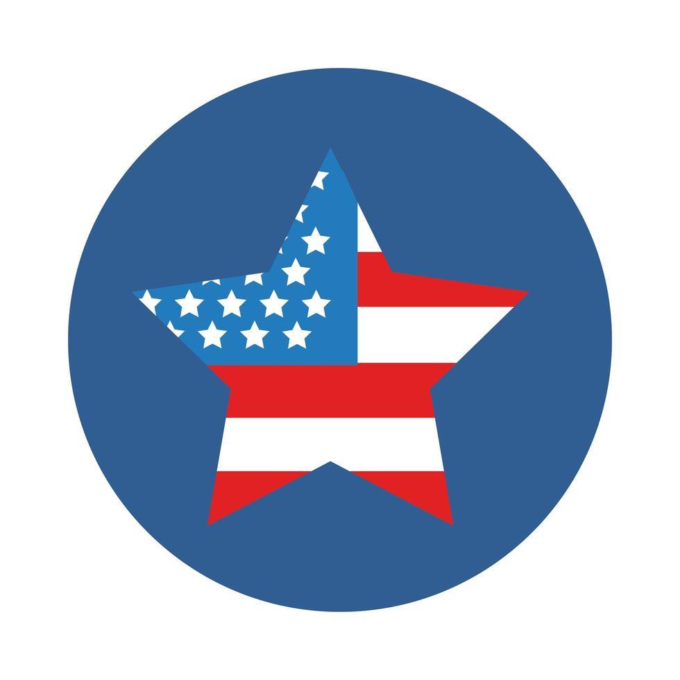 bandiera degli Stati Uniti nell'icona di stile del blocco stella vettore
