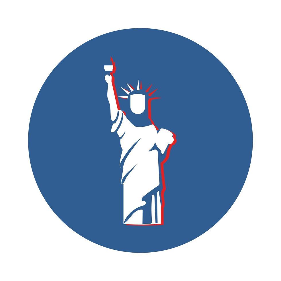la statua della libertà di new york in stile blocco vettore