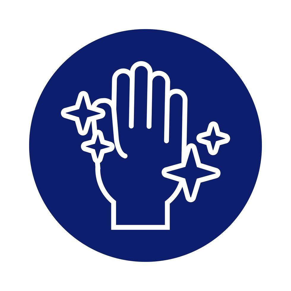 lavaggio a mano con icona di stile blocco stelle luminose vettore