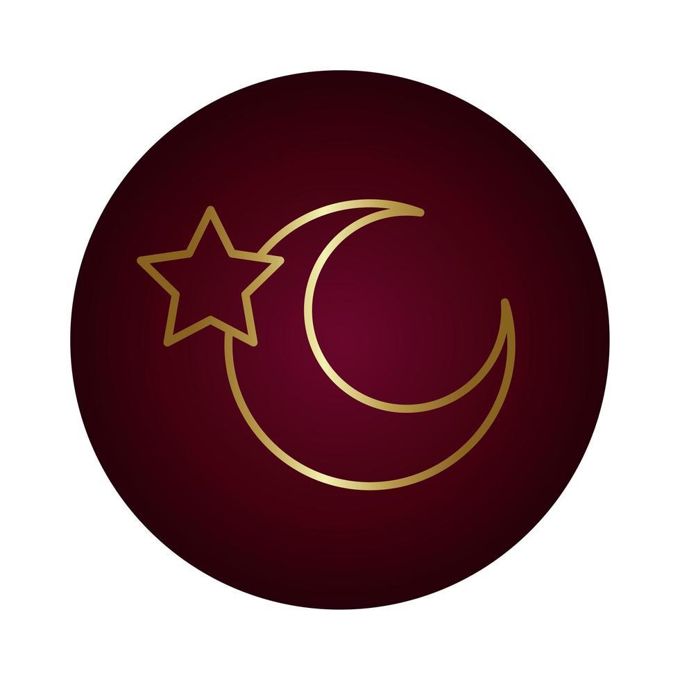 notte di luna con icona di stile sfumato blocco stella vettore