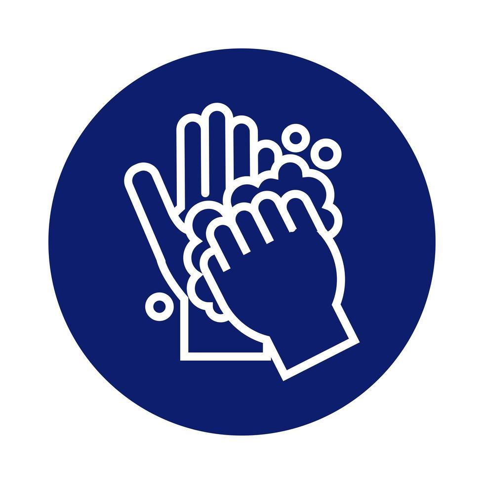 mani che si lavano con l'icona di stile del blocco di schiuma vettore