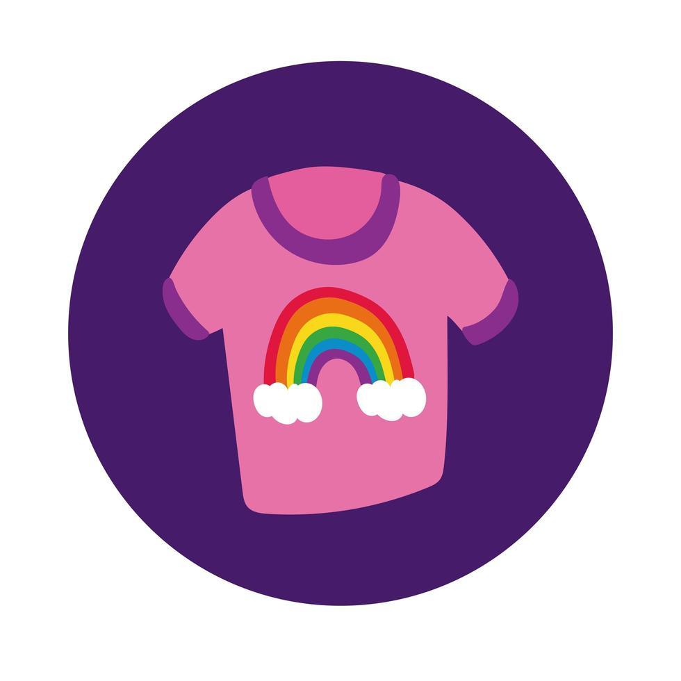 camicia con arcobaleno stile blocco gay pride vettore