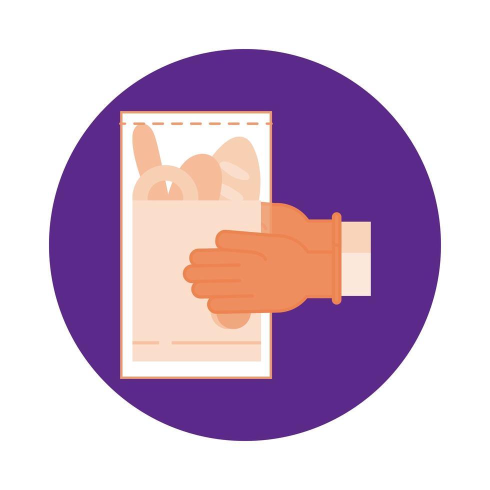 mani che sollevano lo stile del blocco della sac à poche vettore