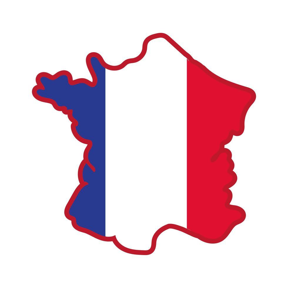 icona di stile di tiraggio della mano della mappa e della bandiera della Francia vettore