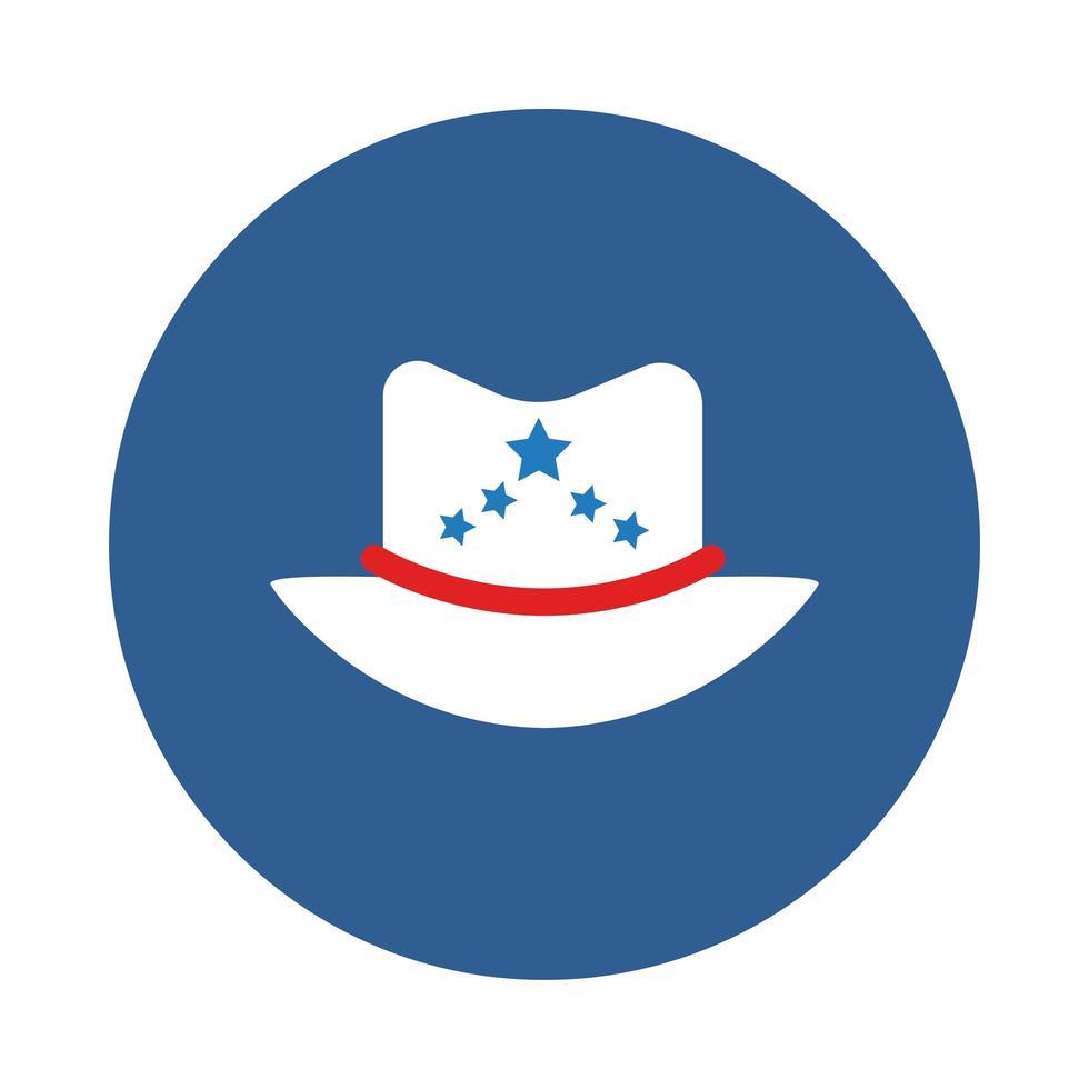 cappello da sceriffo con stelle a blocchi vettore