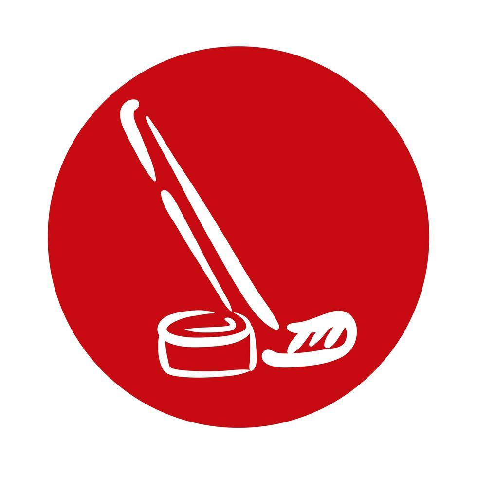 bastone da hockey e icona di stile blocco disco vettore