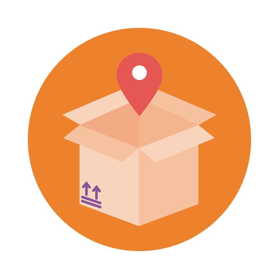 scatola con stile blocco servizio consegna posizione pin vettore