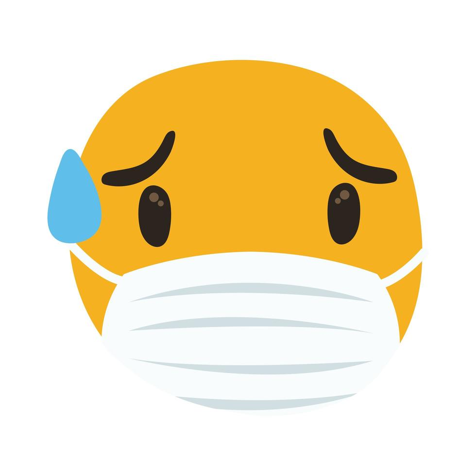 emoji che indossa una maschera medica che suda mano disegnare stile vettore