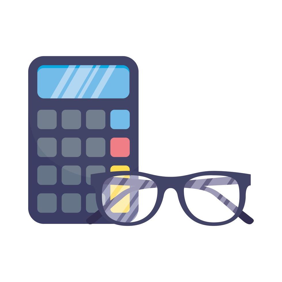 calcolatrice isolata e occhiali disegno vettoriale
