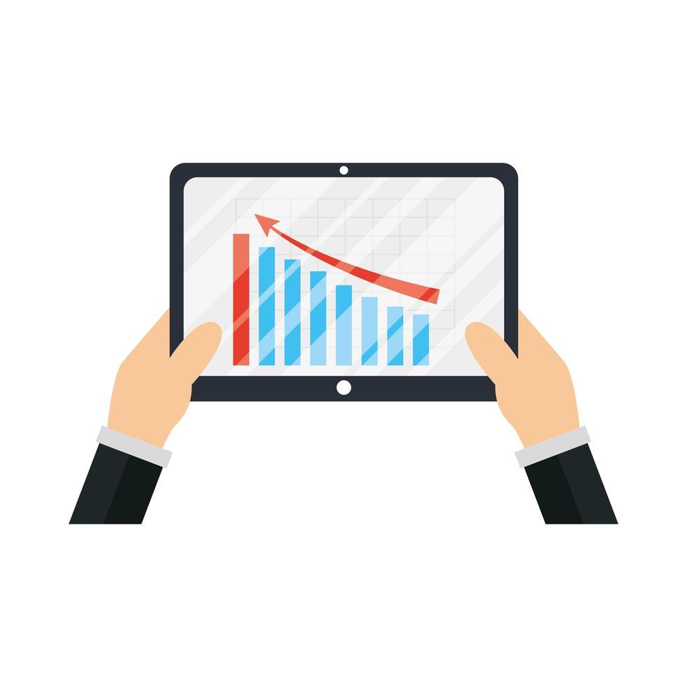 mani che tengono tablet con infografica di disegno vettoriale grafico a barre