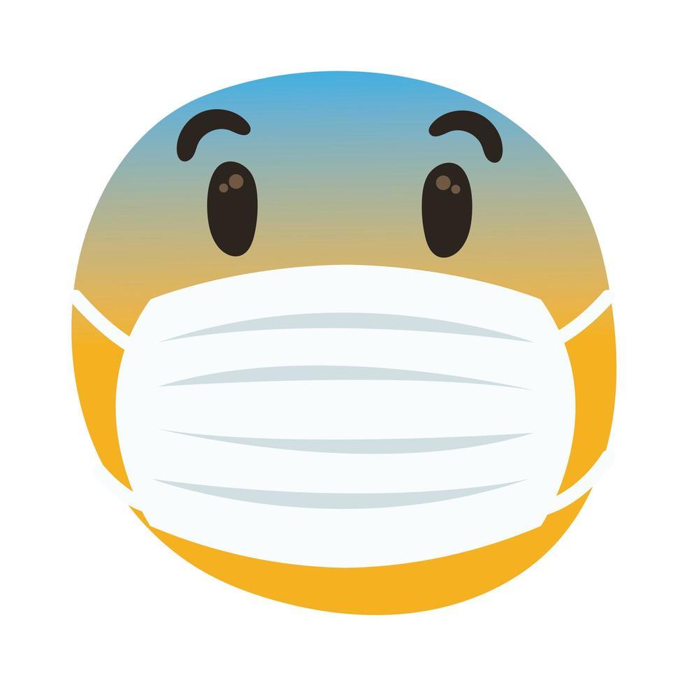 emoji preoccupato indossando maschera medica mano disegnare stile vettore