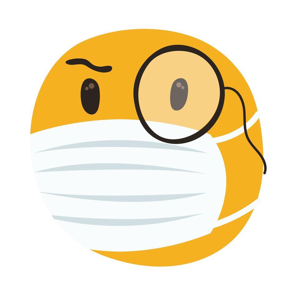 emoji che indossa maschera medica e stile di disegno a mano monocolo vettore