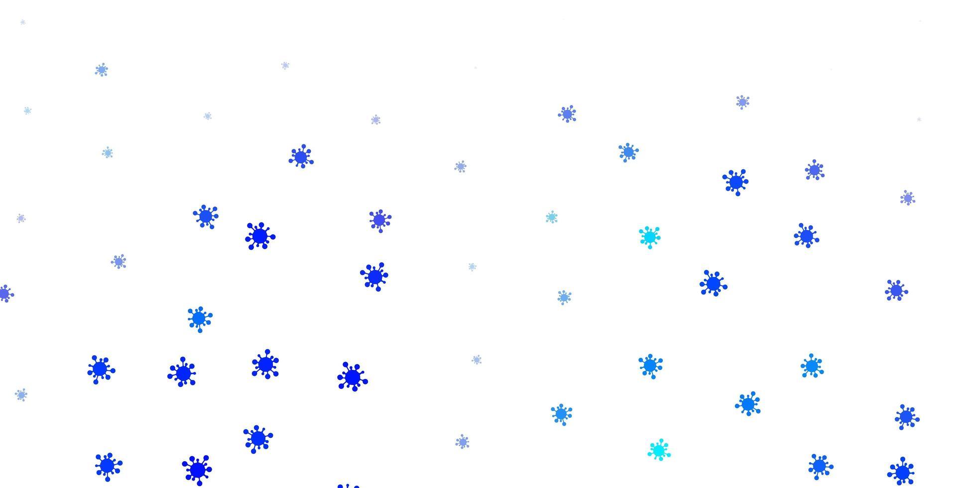 sfondo vettoriale azzurro con simboli covid-19