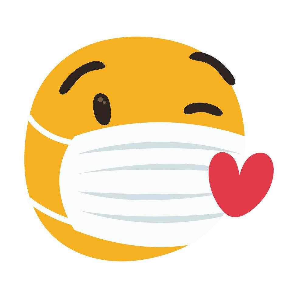 emoji che indossa una maschera medica con stile di tiraggio della mano dei cuori vettore