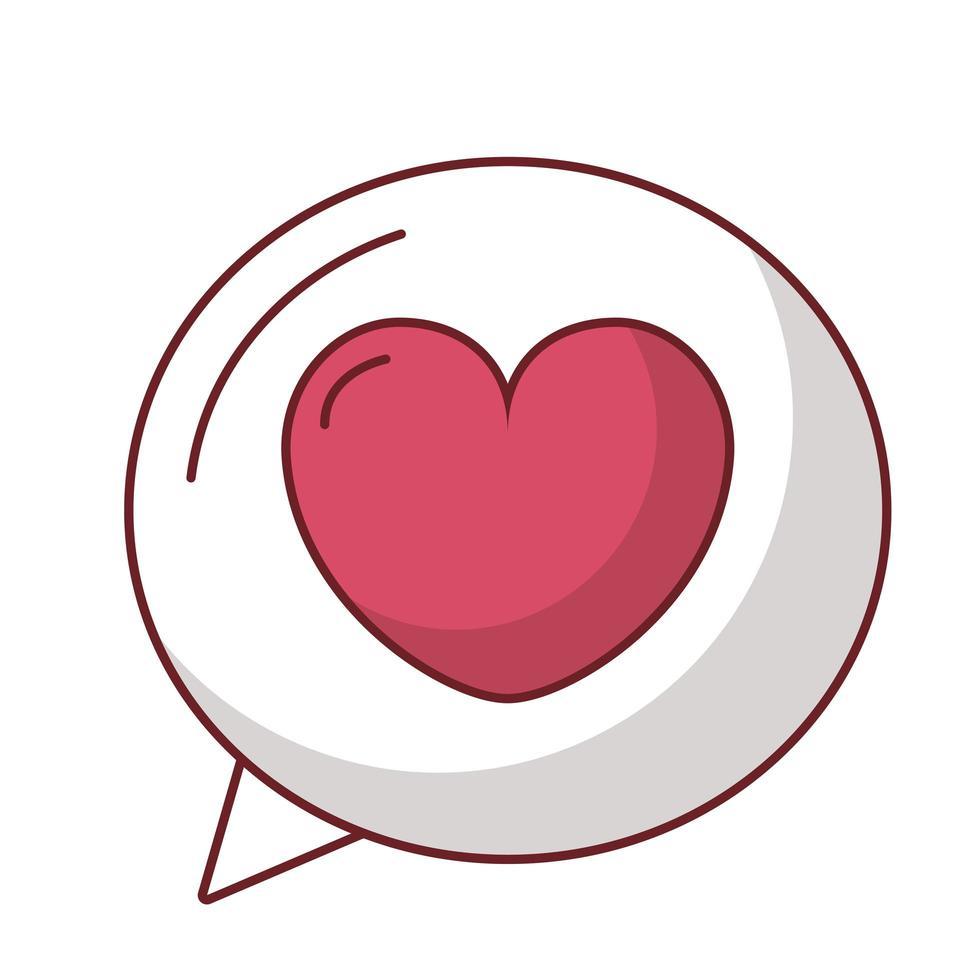amore cuore all'interno del disegno vettoriale bolla