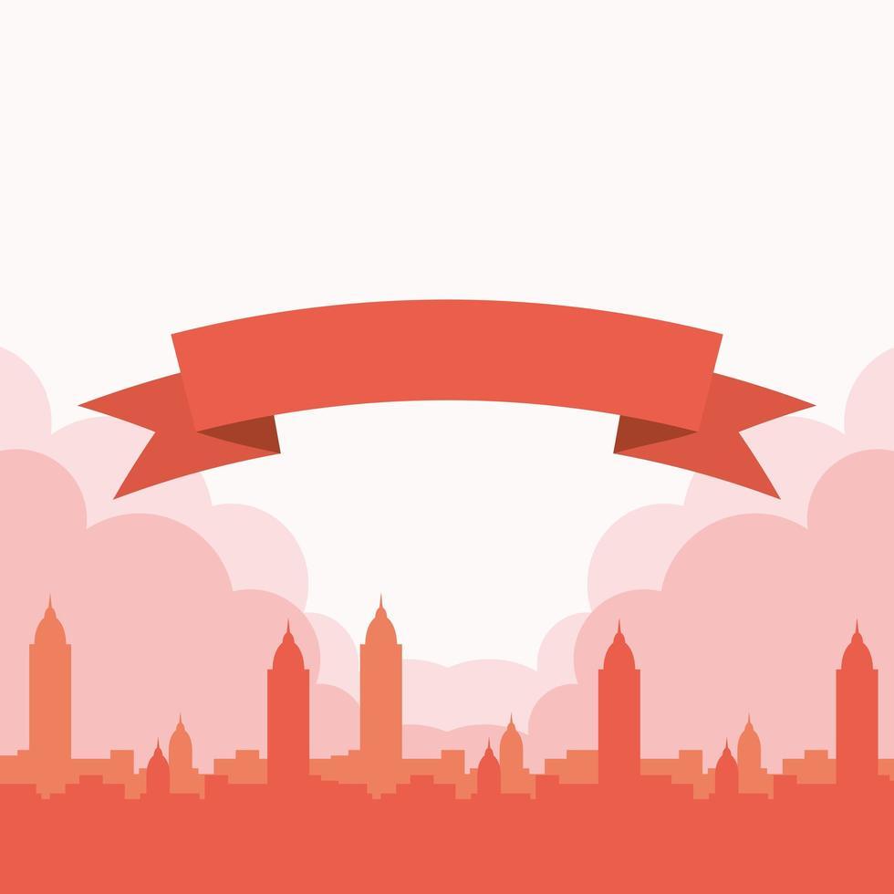 silhouette città rossa con disegno vettoriale nastro