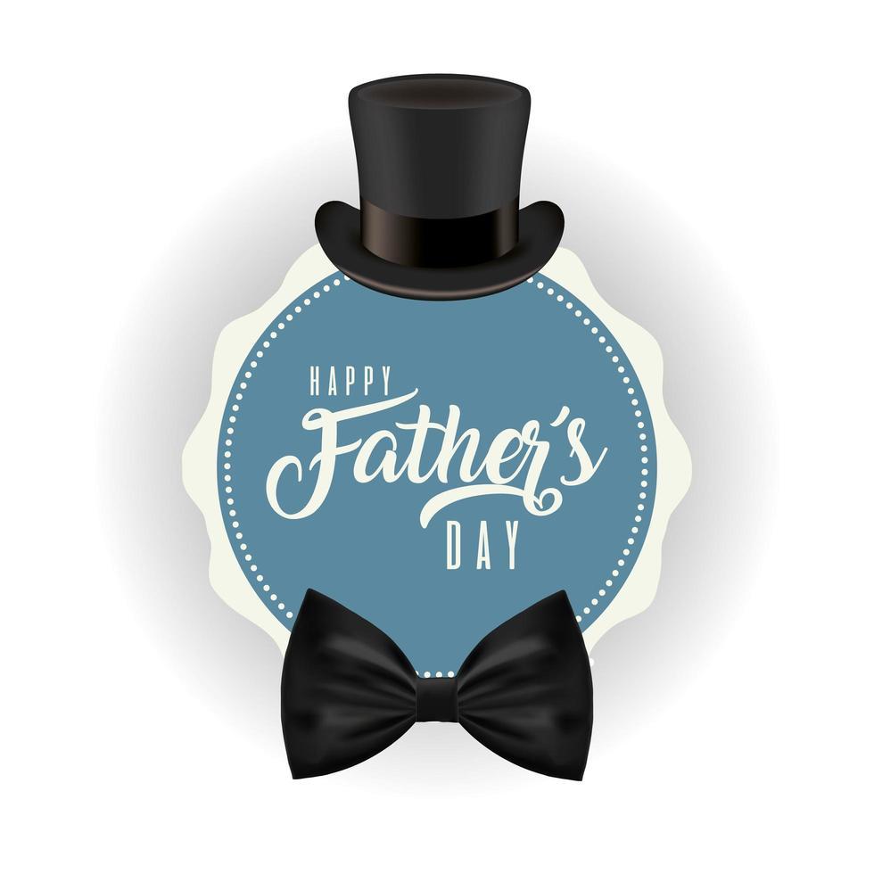 cappello con papillon intorno al timbro per il disegno vettoriale festa del papà