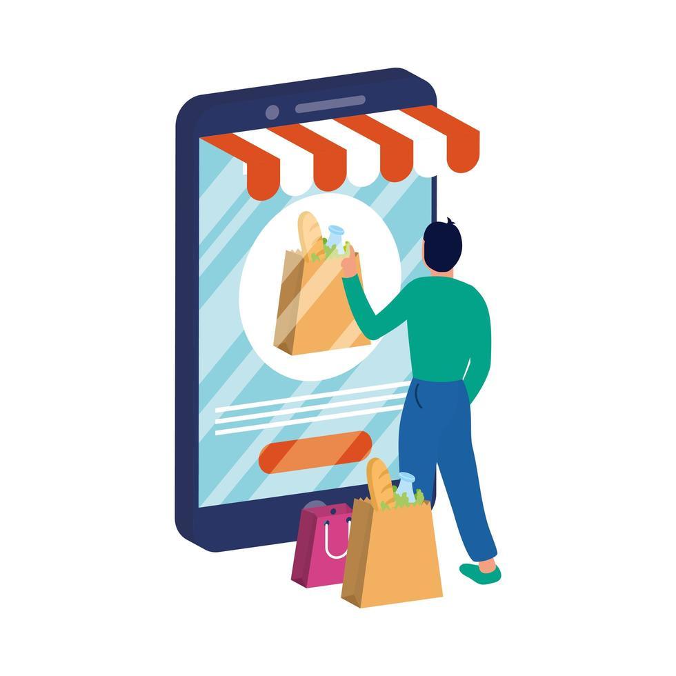 ecommerce online con smartphone e uomo con borse della spesa vettore