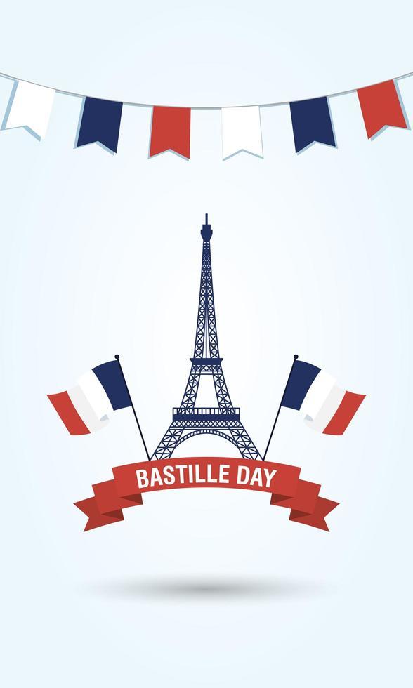 torre eiffel con bandiere della francia e disegno vettoriale del nastro