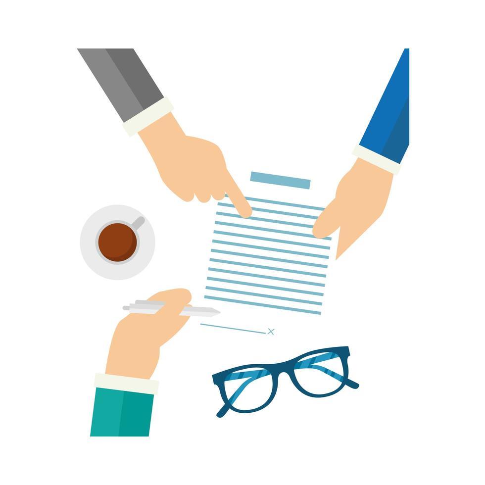 mani che tengono documento e penna disegno vettoriale