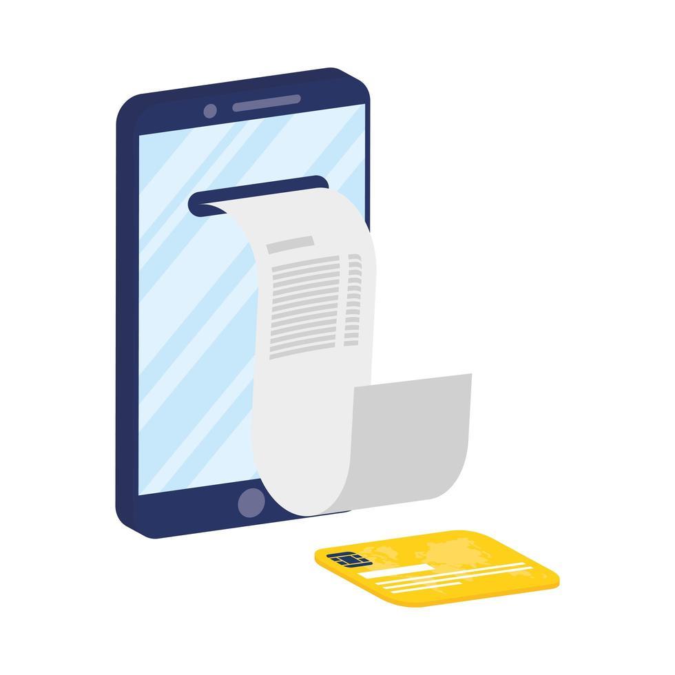 ecommerce online con smartphone e carta di credito vettore
