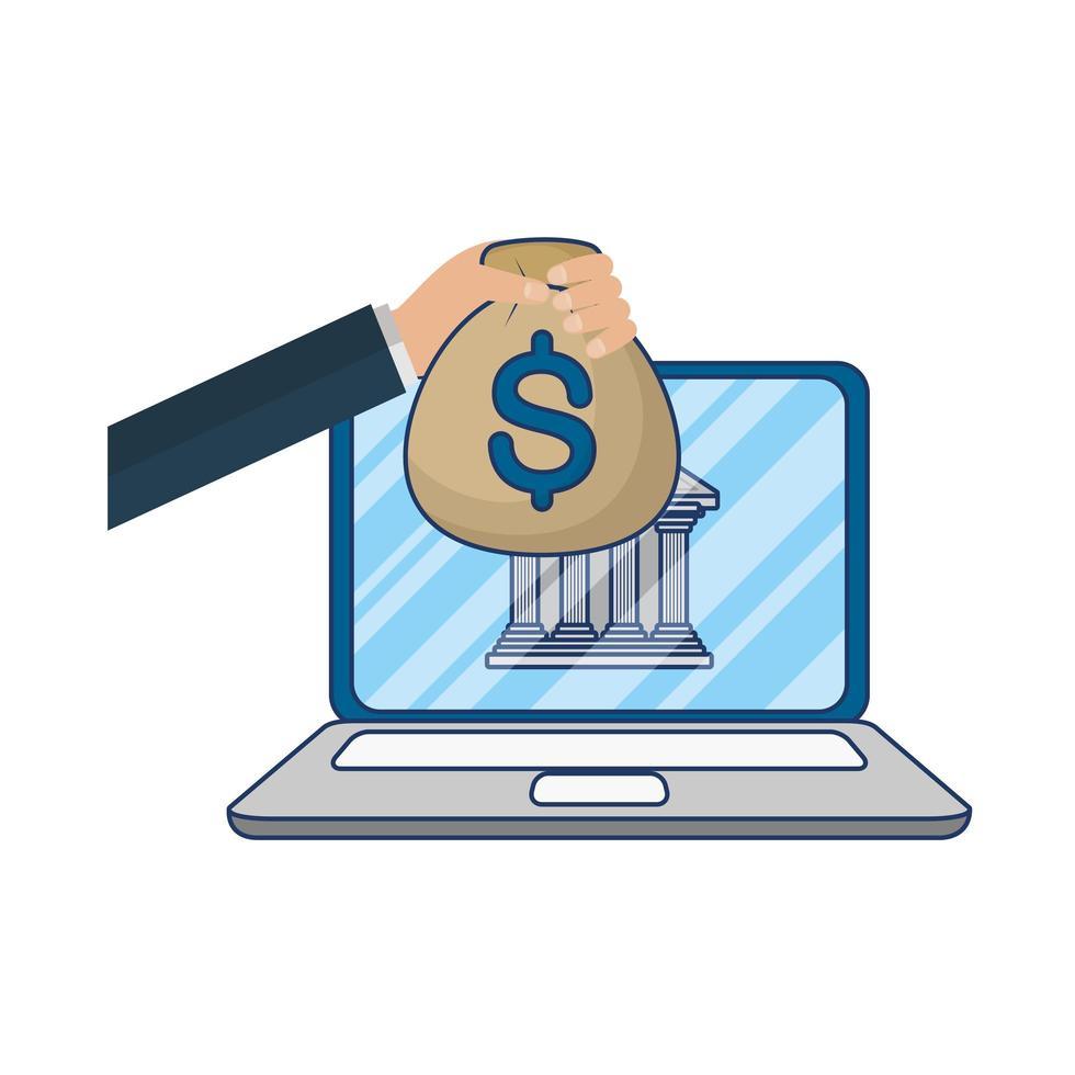 e-commerce online su laptop con denaro e operazioni bancarie vettore